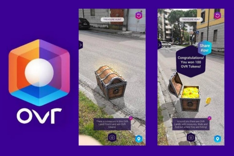 Crypto Game OVR With Augmented Reality Hands Out Tokens